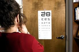 Woman getting an eye exam, looking at an eye chart