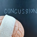 Brain Injury Awareness Month - brain with head wrap and concussion