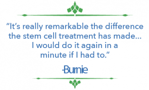 Burnie Herring opted for stem cell therapy to regenerate her arthritic knee and could not be happier with the results.