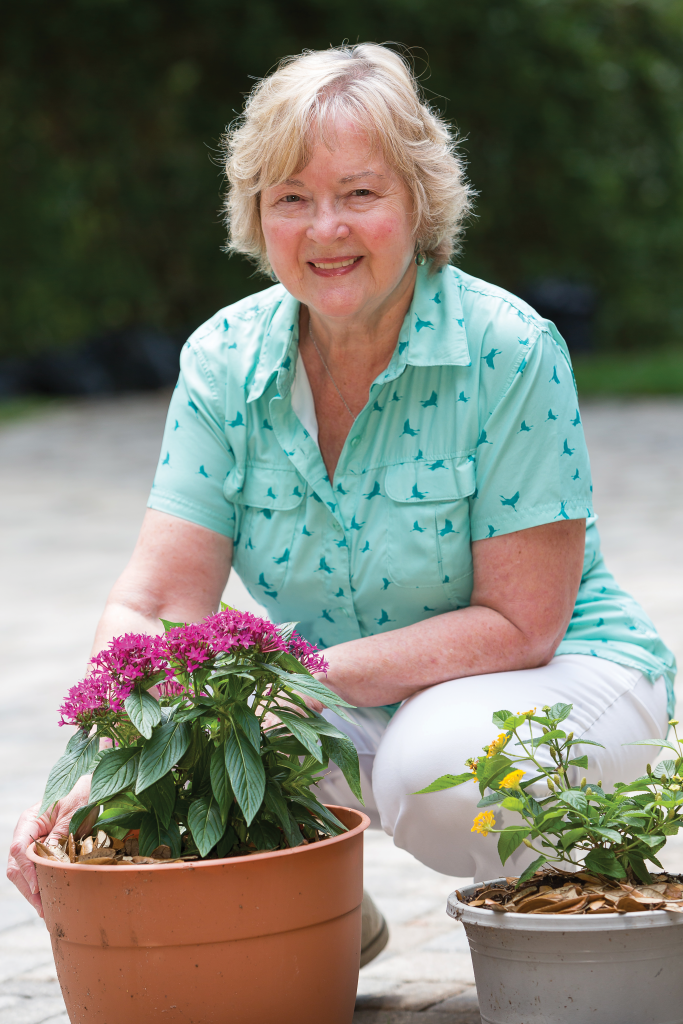 Carole Gilbert in her garden