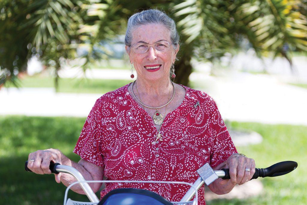 Annette Nichols riding her bike