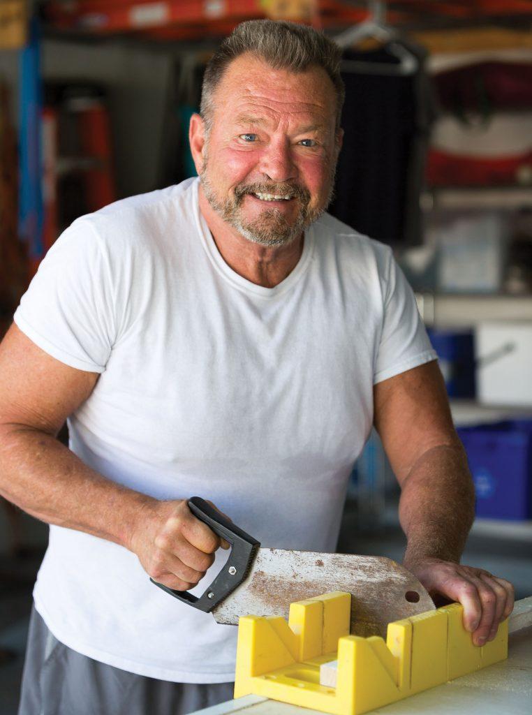 Bill Terry working in his garage workshop